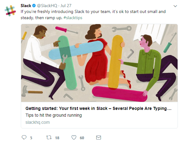 Slack's twitter account is highly visual and also has useful information
